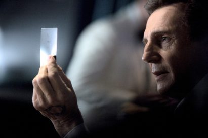 A scene from the LG Super Bowl Ad preview featuring film star Liam Neeson