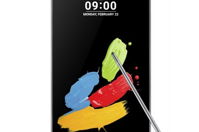 Front view of LG Stylus 2 in Titan and its pen with a nano-coated tip on top of the screen