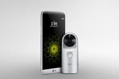 The front view of the LG G5 and the LG 360 CAM, both in Silver