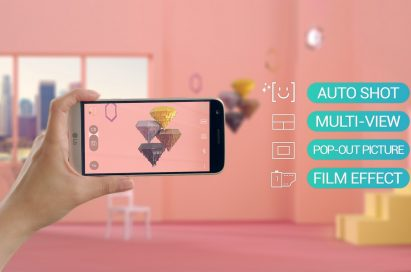 A person holds the LG G5 while taking a picture of decorations, with icons on the right displaying newly added camera features, such as Auto Shot, Multi View, Pop-out Picture and Film Effect