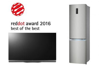 Red Dot's prestigious Best of the Best award recipients, LG Electronics' 4K OLED TV (model 65E6) and Bottom-Freezer Refrigerator (model GA- B489SADN/GA-B489TADN).