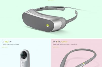 A screenshot of the LG Friends Online Portal, which includes detailed product pages for the LG CAM Plus, LG Hi-Fi Plus with B&O PLAY, LG 360 VR, LG 360 CAM, LG TONE Platinum™ and LG Rolling Bot