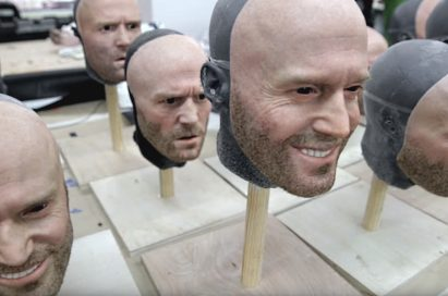 Various face masks of Jason Statham used during filming of LG G5 TV Commercial, 'World of Play'