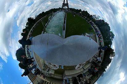 A 360-image taken on LG 360 CAM at the Eiffel Tower in Paris, France