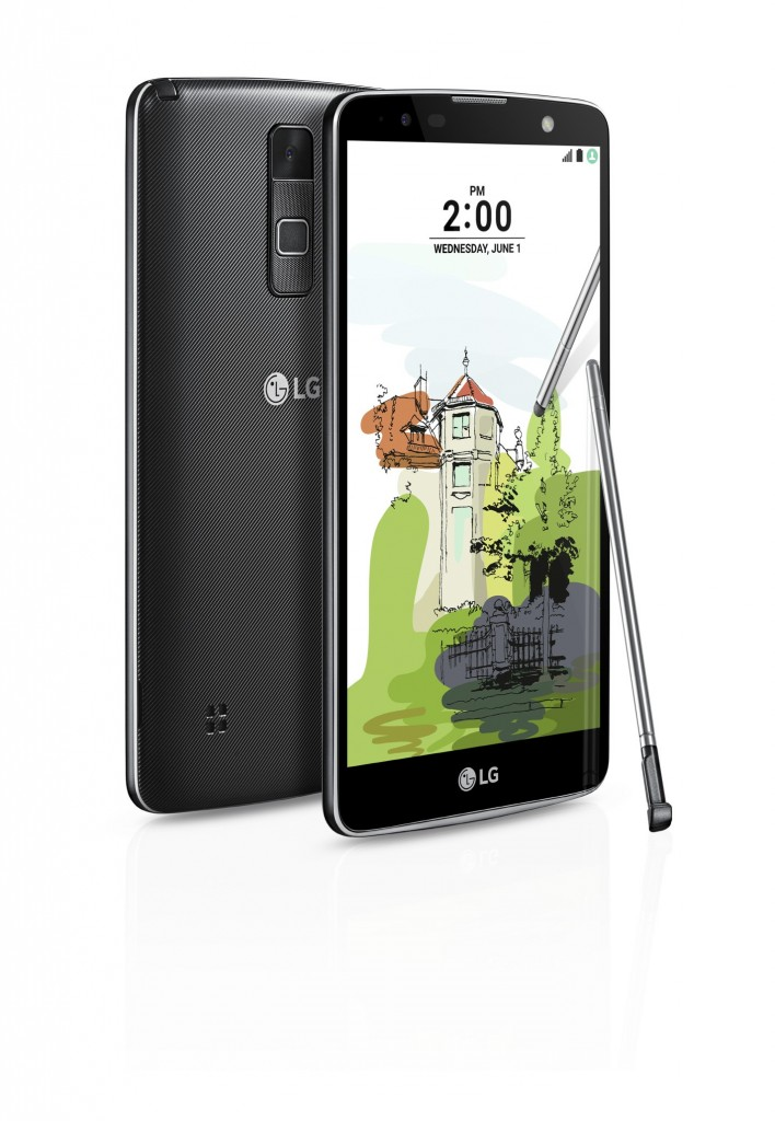 The front and back view of the LG Stylus 2 Plus in Titan