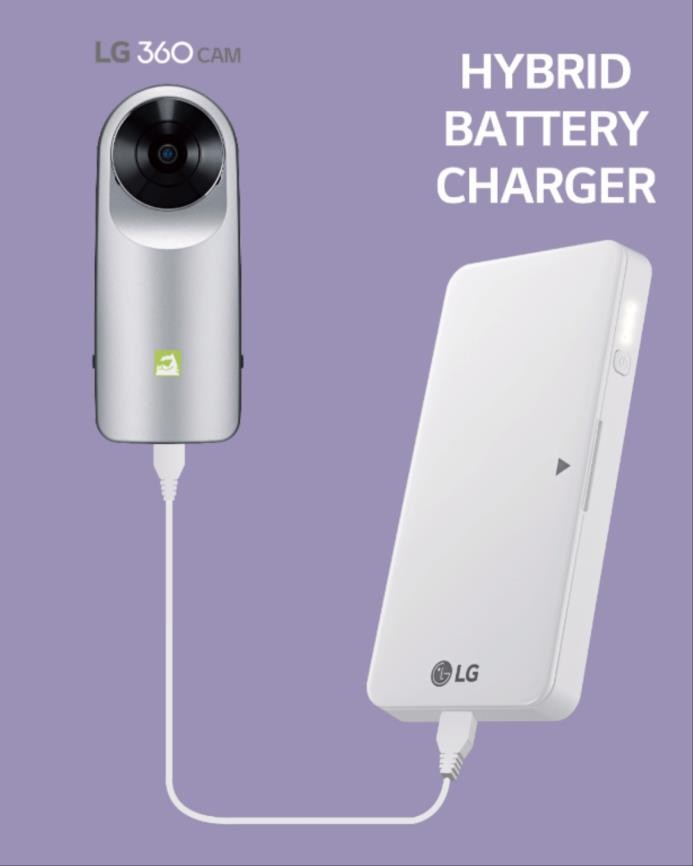 LG G5 hybrid battery charger connected to an LG 360 CAM