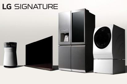 LG Signature's air purifier, Wallpaper OLED TV, InstaView refrigerator and washing machine.