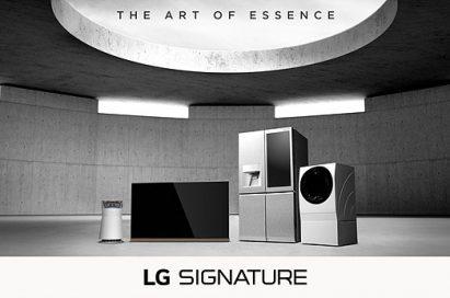 LG SIGNATURE product lineup under 'The Art of Essence' brand slogan
