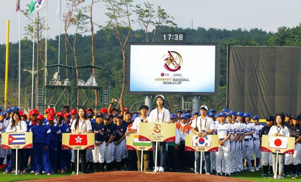 Players from participating nations at the opening ceremony of the WBSC Women's Baseball World Cup 2016