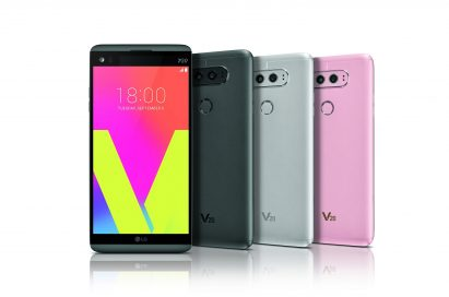 The front and rear view of the LG V20 in Titan, Silver and Pink