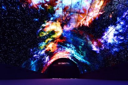 A wide-angle shot of the LG OLED Tunnel at IFA 2016