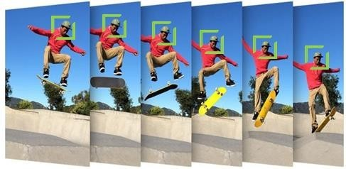 LG V20's Tracking Focus feature captures a sequence of images of skateboarder jumping