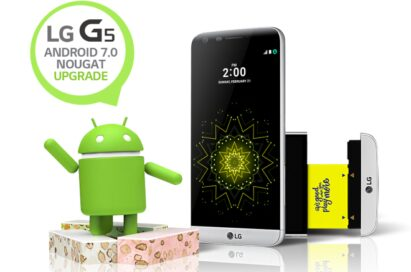 """The front view of the LG G5 in Silver, with the Android Nougat logo with a speech bubble reading """"LG G5 Android 7.0 Nougat Upgrade"""""""