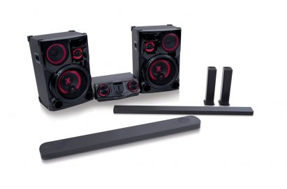 A slight side view of the LG CAV collection with soundbar models SJ9, SJ8, SJ7 and LG LOUDR sound system model CJ98