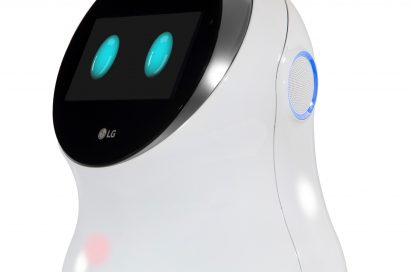 Side view of LG CLOi hub robot