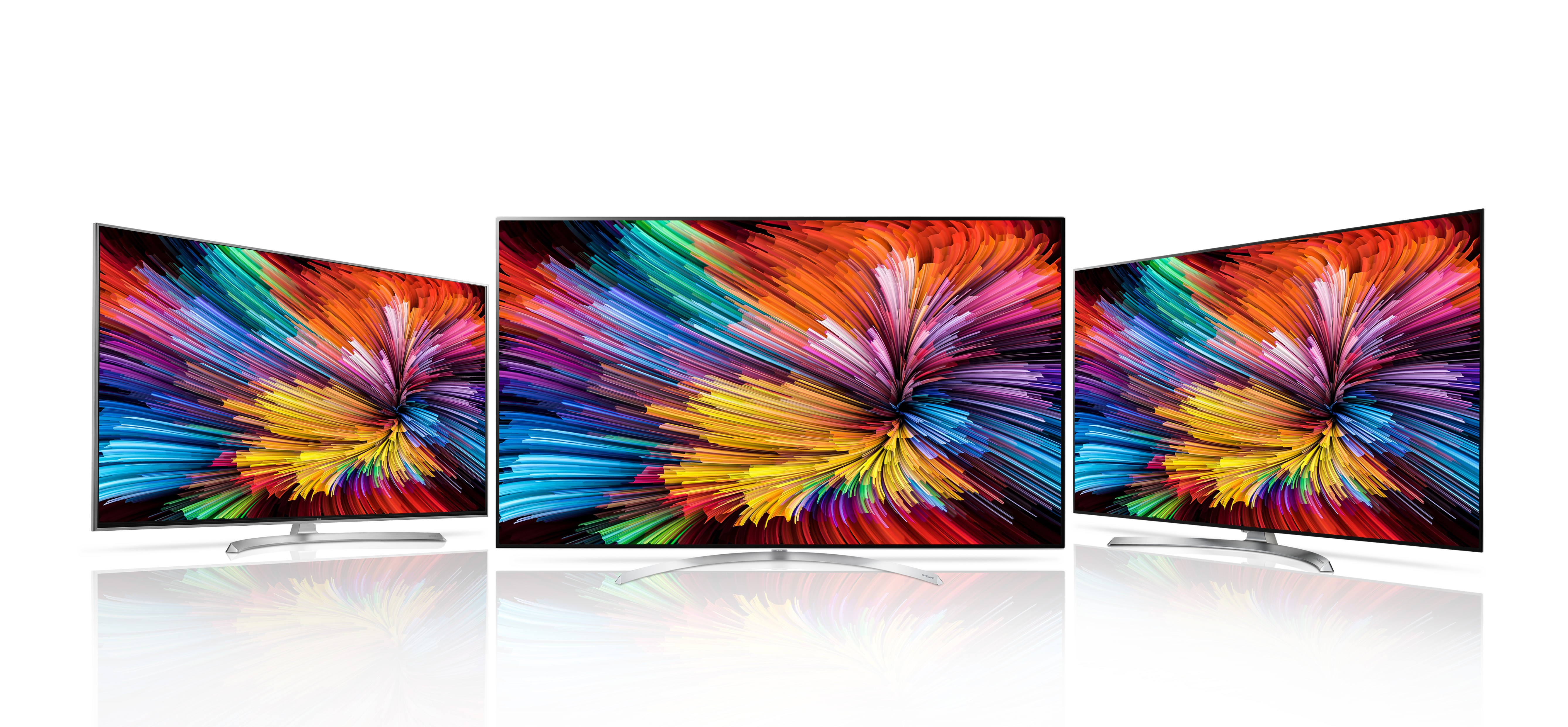 Front view of three LG SUPER UHD TVs (model SJ95), two of them at the flanks are rotated to face the one at the center