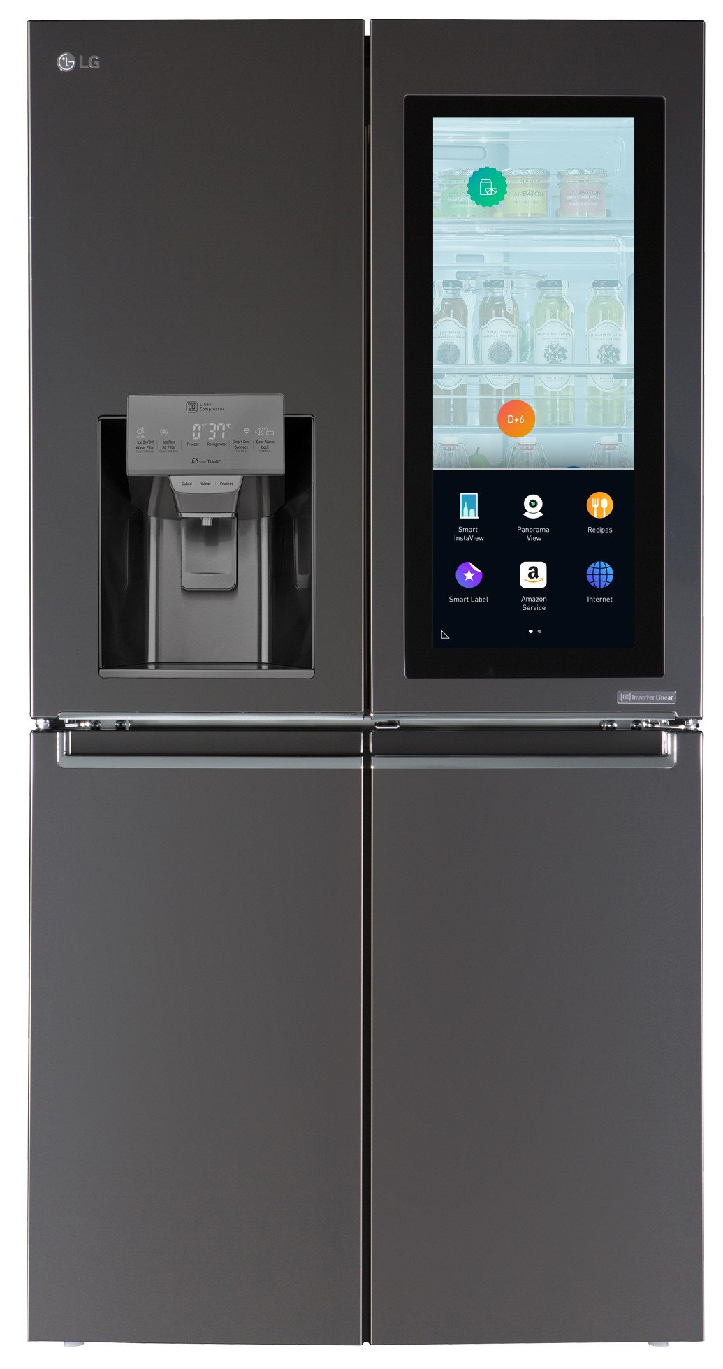 Another view of LG InstaView™ refrigerator with its touch panel activated