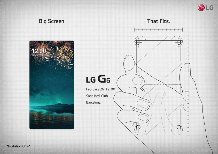 "The LG G6 Press Event invitation, to be held at Barcelona's Saint Jordi Club on February 26th, 2017 at 12:00pm, with the phrase ""Big Screen That Fits"" across the top"