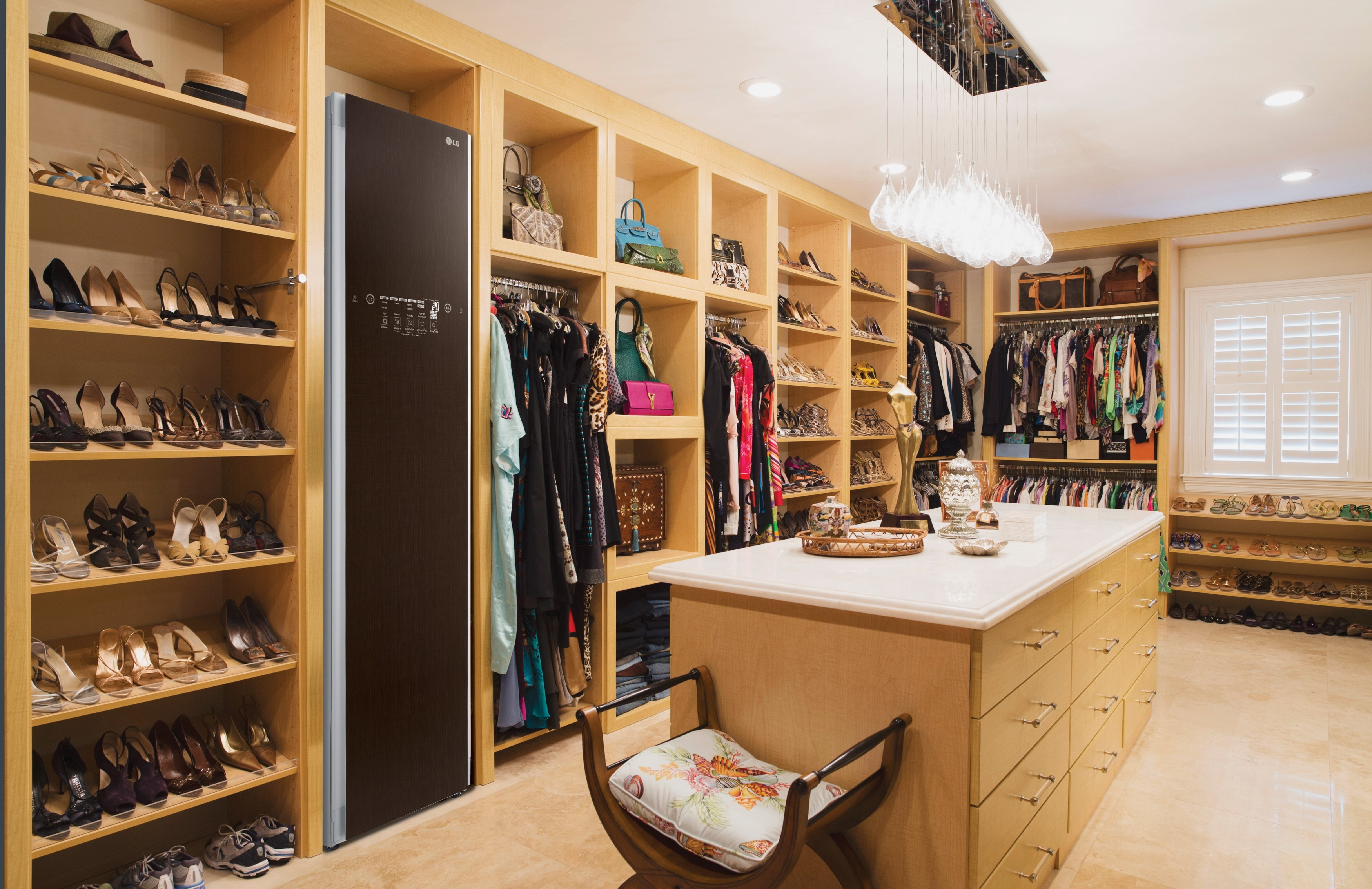 LG Styler fitted into a dress room