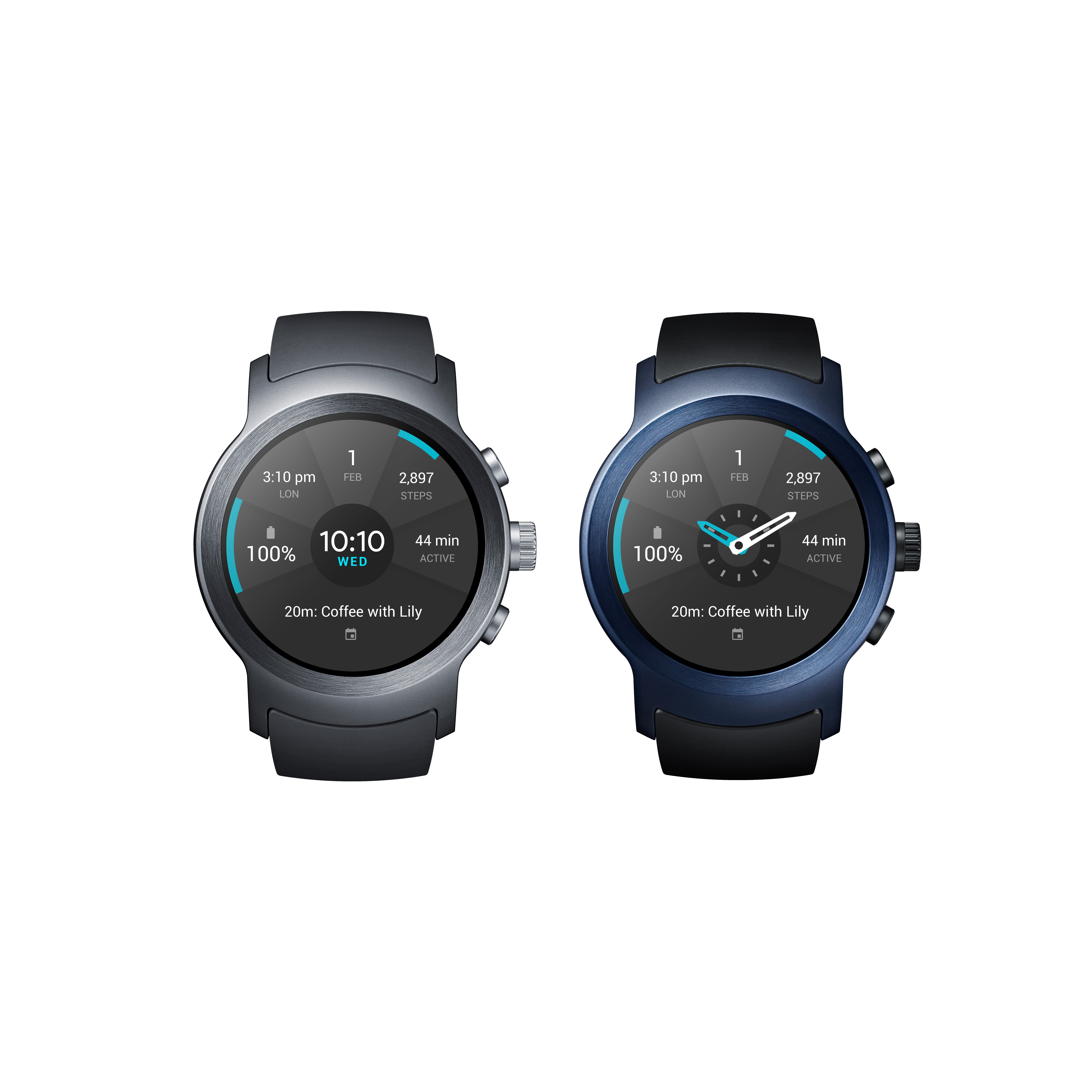 The front view of the LG Watch Sport in Titanium and Dark Blue