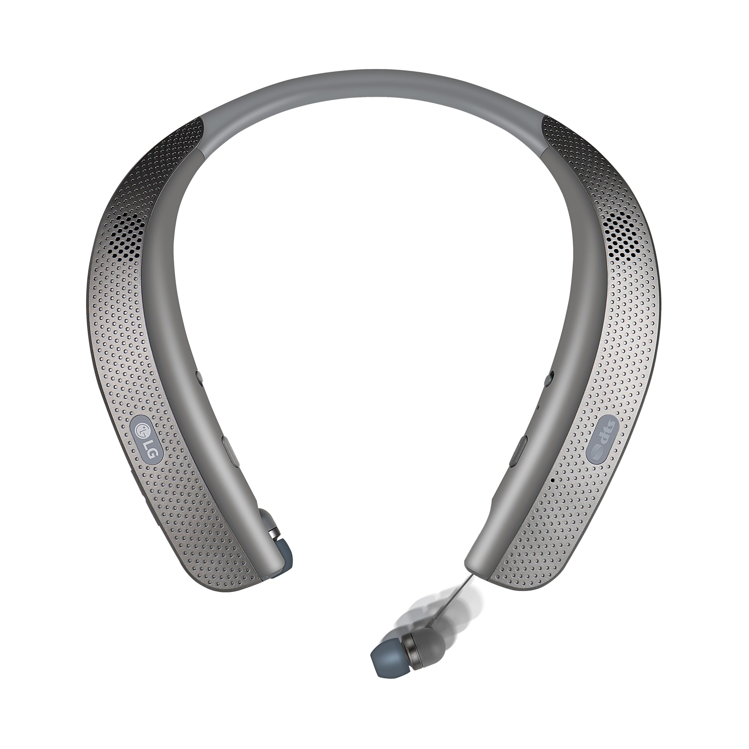 The top view of the LG Tone Studio, with the right earbud extracted from the neckband