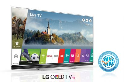 An LG OLED TV with Common Criteria certification logo on its right side