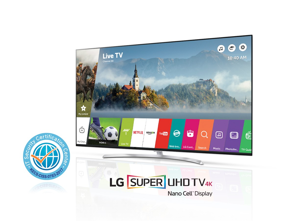 An LG SUPER UHD TV with Common Criteria certification logo on its left side
