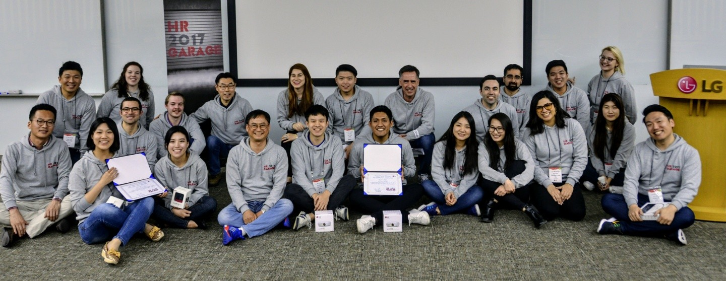 International students participating in LG's HR Garage Program sit for a group photo