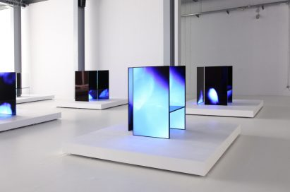 A third side view of multiple installations found inside Tokujin Yoshioka's art exhibition, equipped with LG's OLED displays to showcase vivid colors and artwork to visitors