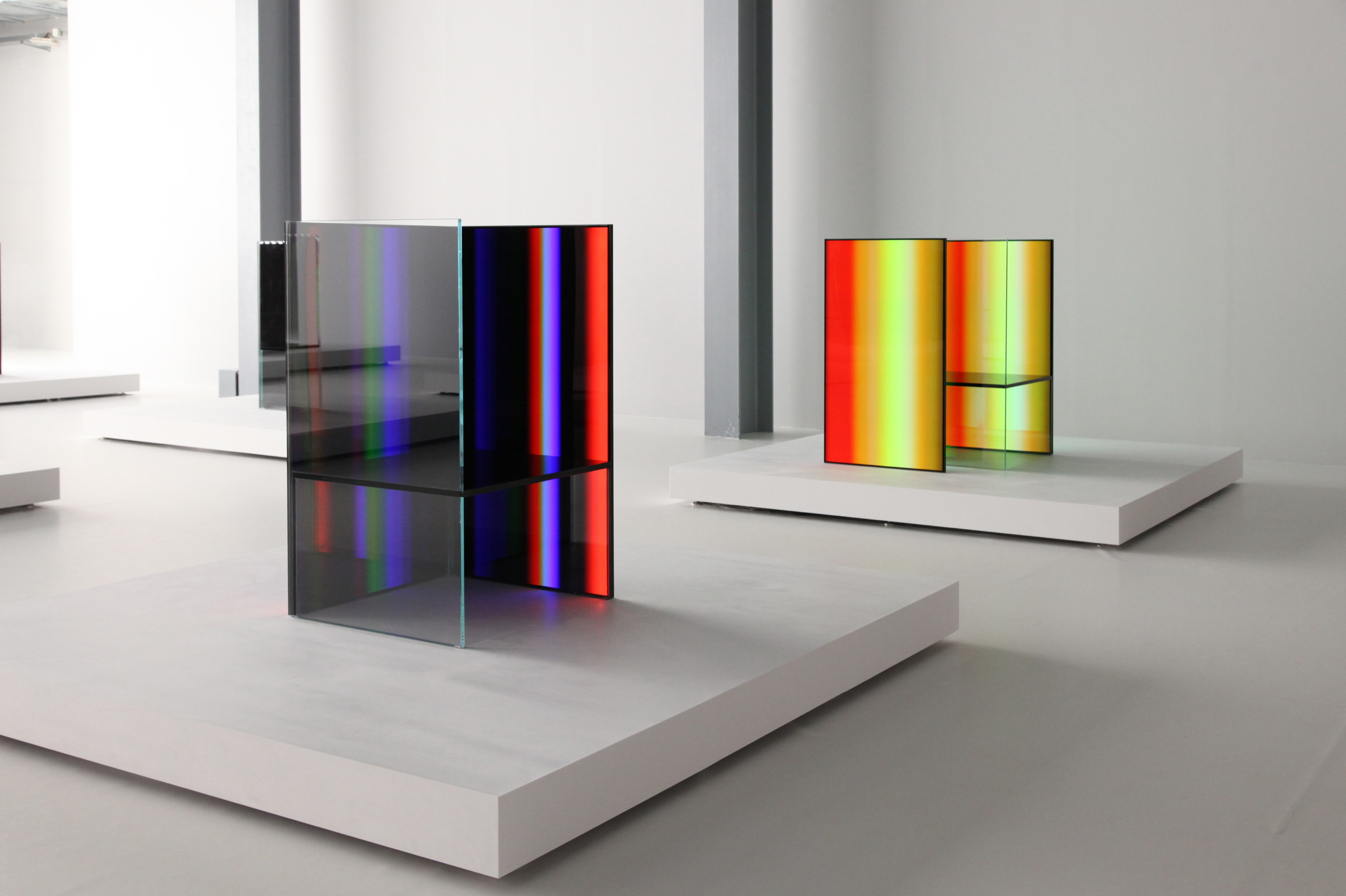 Side view of two of the art installations inside Tokujin Yoshioka's exhibition, equipped with LG's OLED displays to showcase vivid colors and artwork to visitors