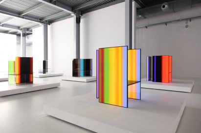 A side view of four installations found inside Tokujin Yoshioka's art exhibition, equipped with LG's OLED displays to showcase vivid colors and artwork to visitors