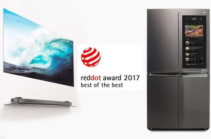 Best of the Best award-winners LG SIGNATURE OLED TV W and Smart InstaView refrigerator.