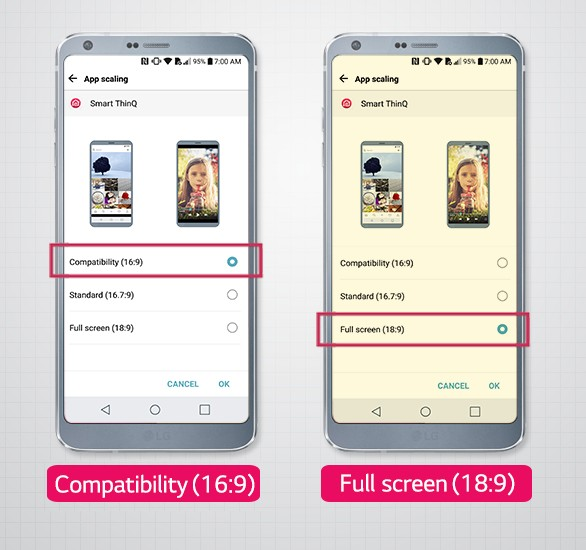 Two LG G6 smartphones showing App Scaling option screen with available modes: compatibility (16:9), standard (16.7:9) and full screen (18:9)