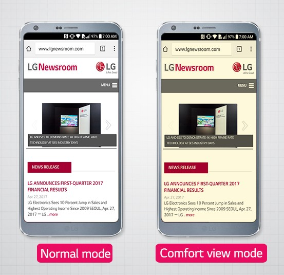 Two LG G6 smartphones set to different display modes: left shows Normal mode, right is in Comfort View mode