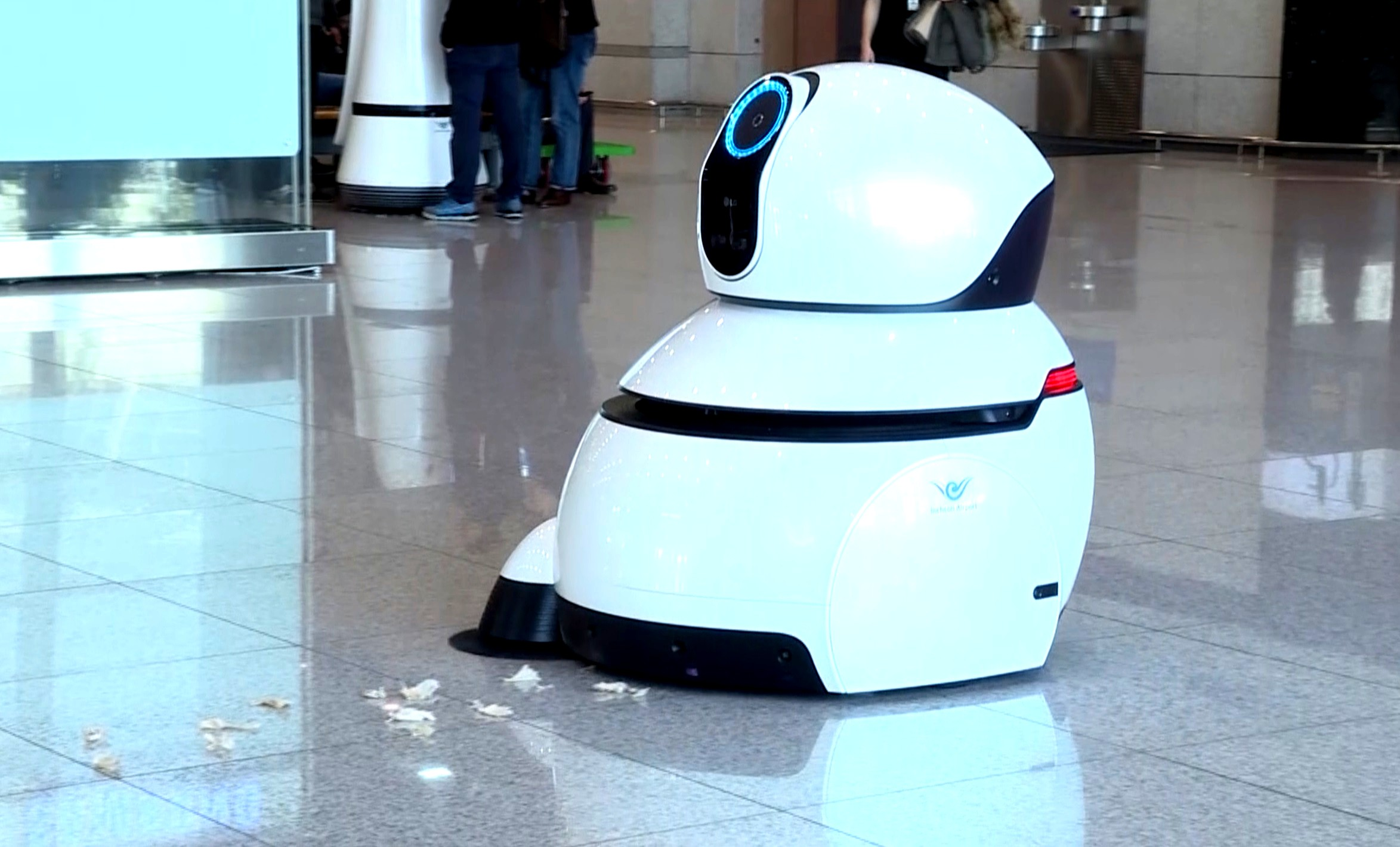 A side view of one of LG's Airport Cleaning Robots in action at the Incheon International Airport, Korea