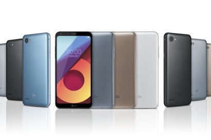 The front and back view of the LG Q6 in Astro Black, Ice Platinum, Terra Gold and Mystic White, the LG Q6+ in Ice Platinum, Astro Black and Marine Blue and the LG Q6α in Astro Black, Ice Platinum and Terra Gold