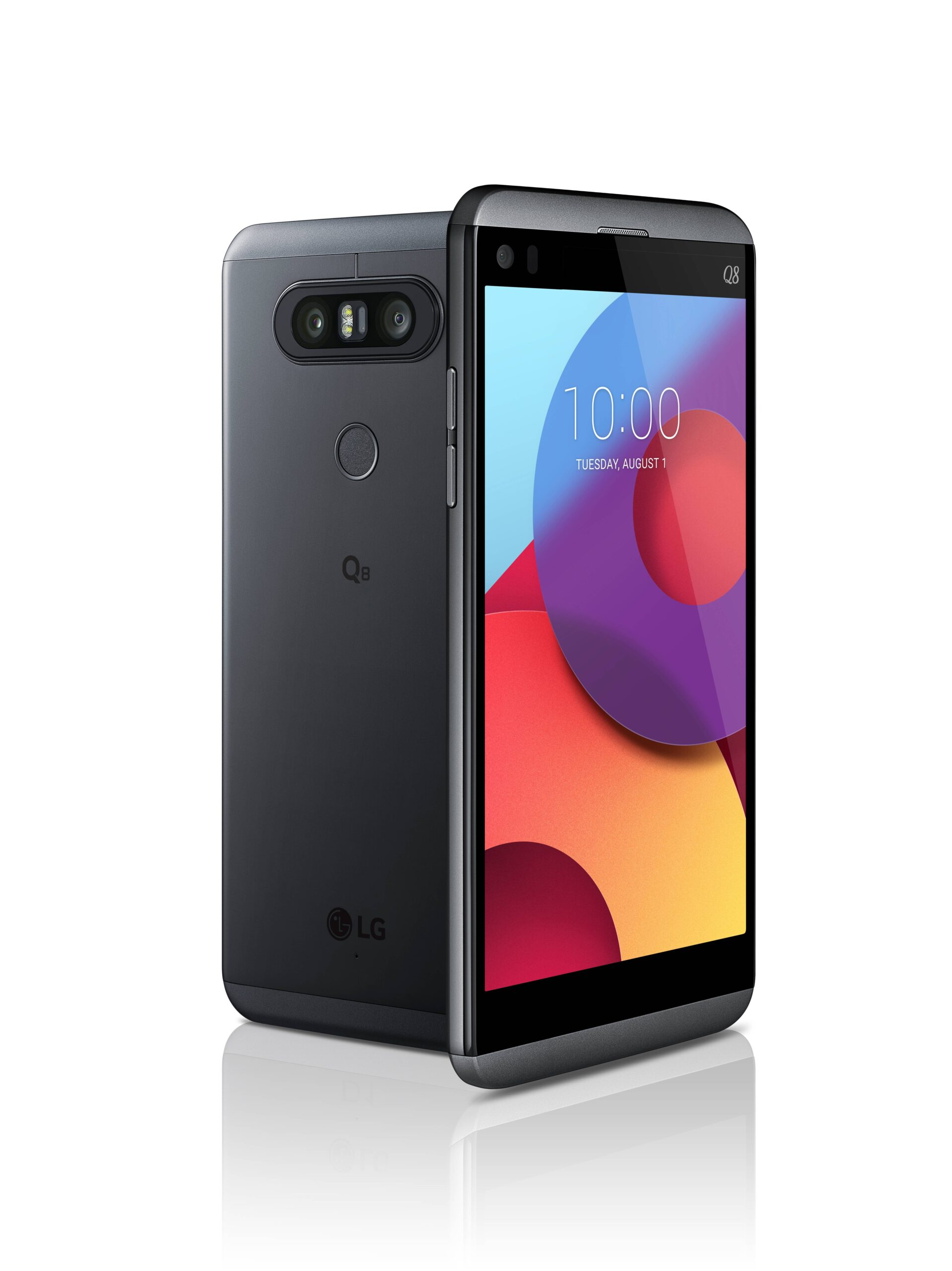 The front and rear view of the LG Q8 in Urban Titan