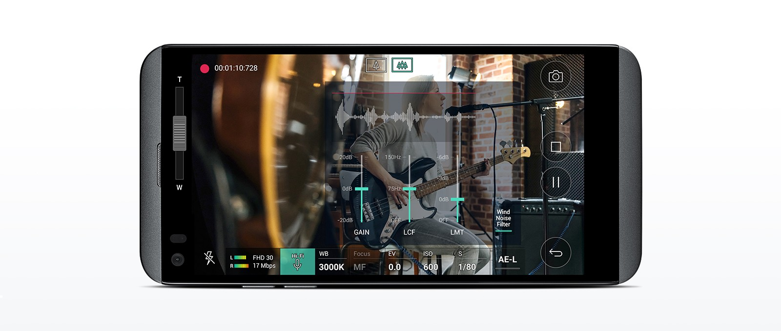 The front view of the LG Q8, with the screen displaying the Hi-Fi Recording of a woman singing and playing the guitar