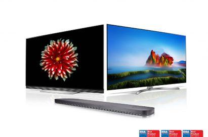 Ultra-slim LG OLED TV (model OLED65E7), LG SUPER UHD TV (model 55SJ850V) and LG Soundbar (model SJ9) above three EISA AWARD Best Product logos