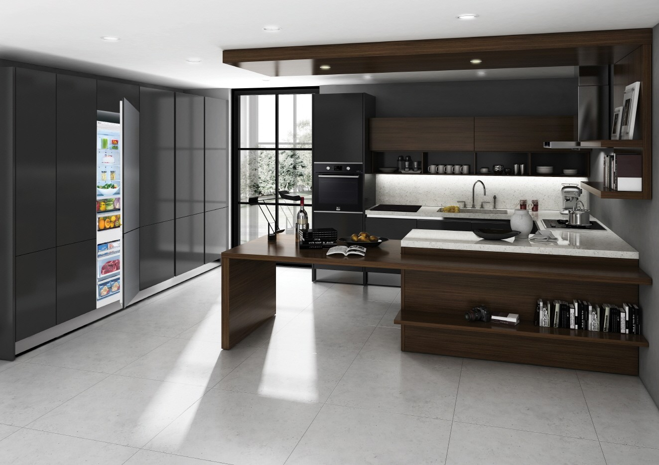 Kitchen black and dark wood cabinets featuring the complete European LG STUDIO package includes induction cooktop, oven and refrigerator.