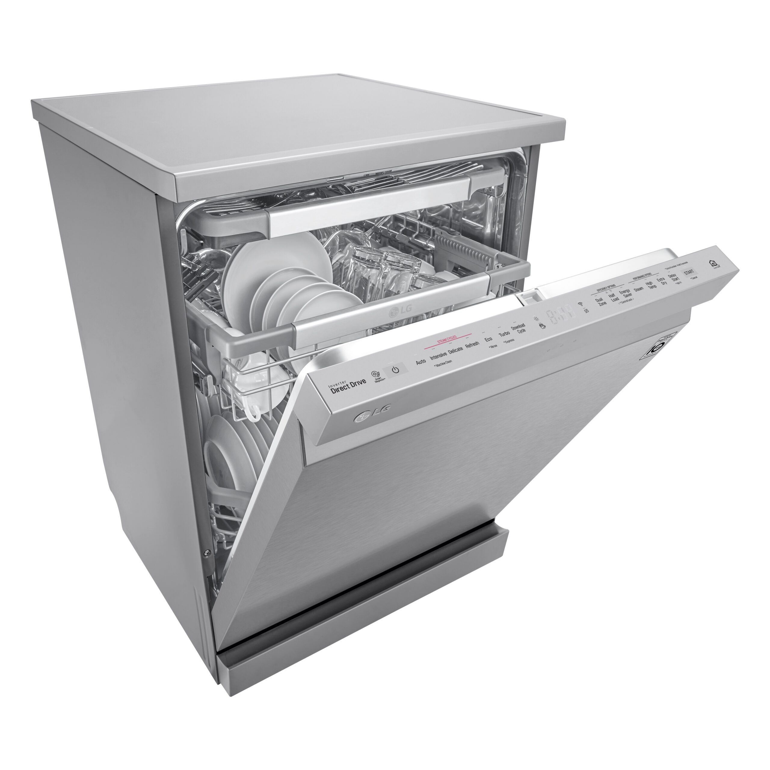 LG SteamClean™ dishwasher with the door slightly open and filled with various clean dishes
