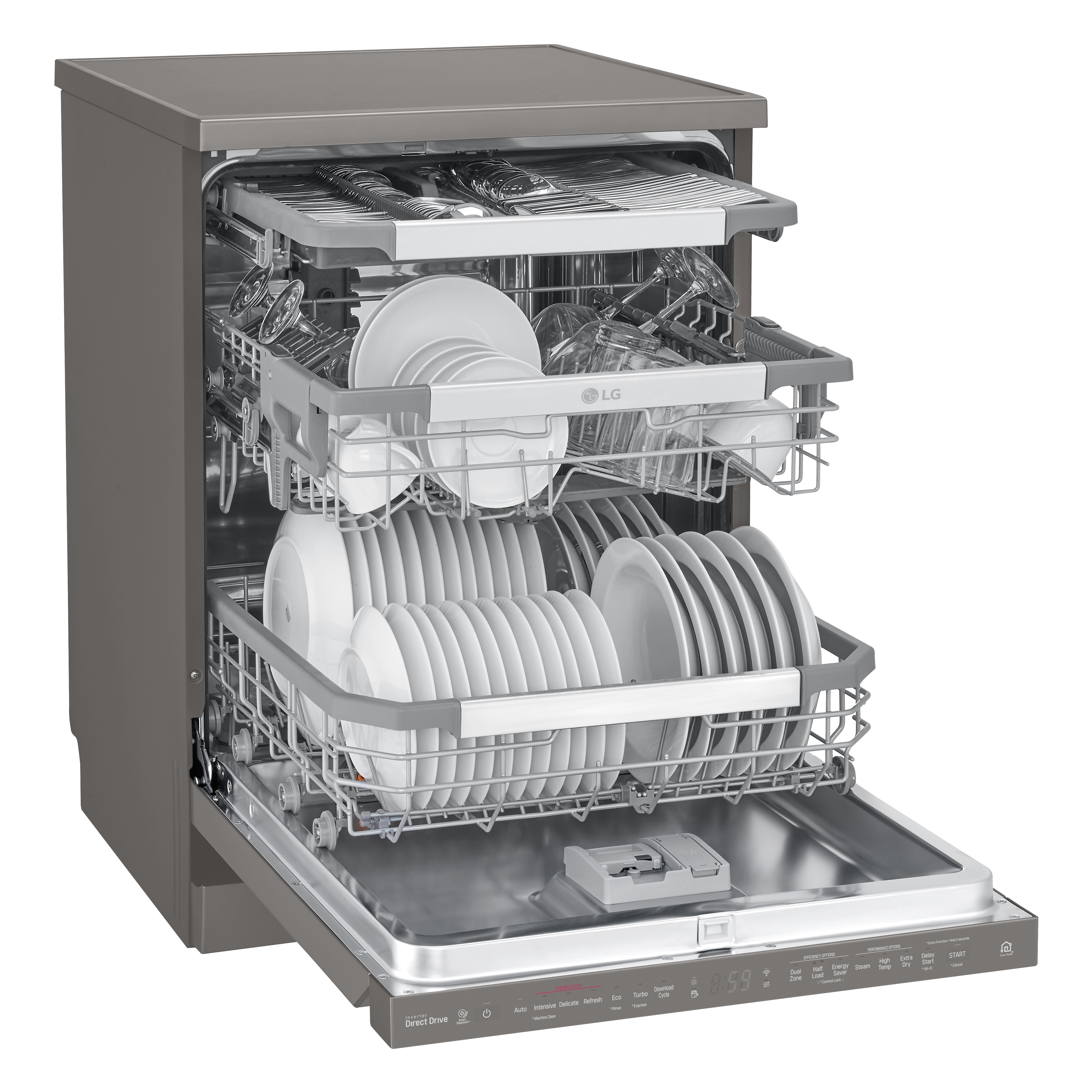LG SteamClean™ dishwasher completely open and filled with various clean dishes on the three racks.