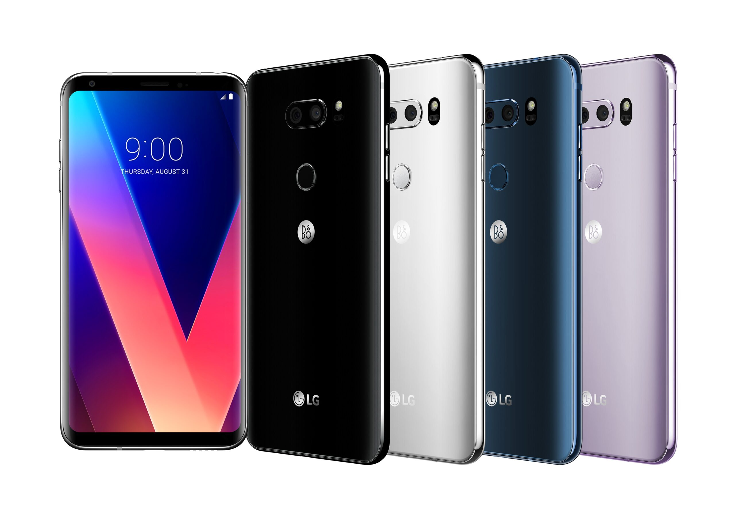The front and back view of the LG V30 in Aurora Black, Cloud Silver, Moroccan Blue and Lavender Violet