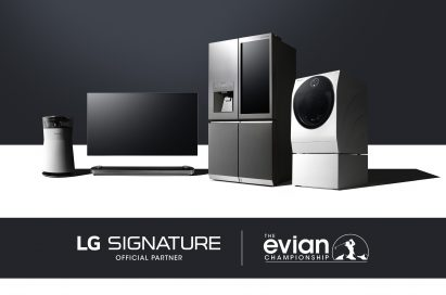 The LG SIGNATURE lineup consisting of the OLED TV, TWIN Wash™ washing machine, InstaView refrigerator and futuristic air purifier.