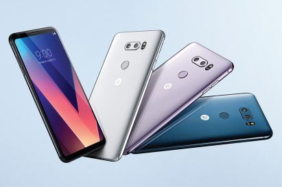 The front and rear view of the LG V30 in Aurora Black, Cloud Silver, Lavender Violet and Moroccan Blue