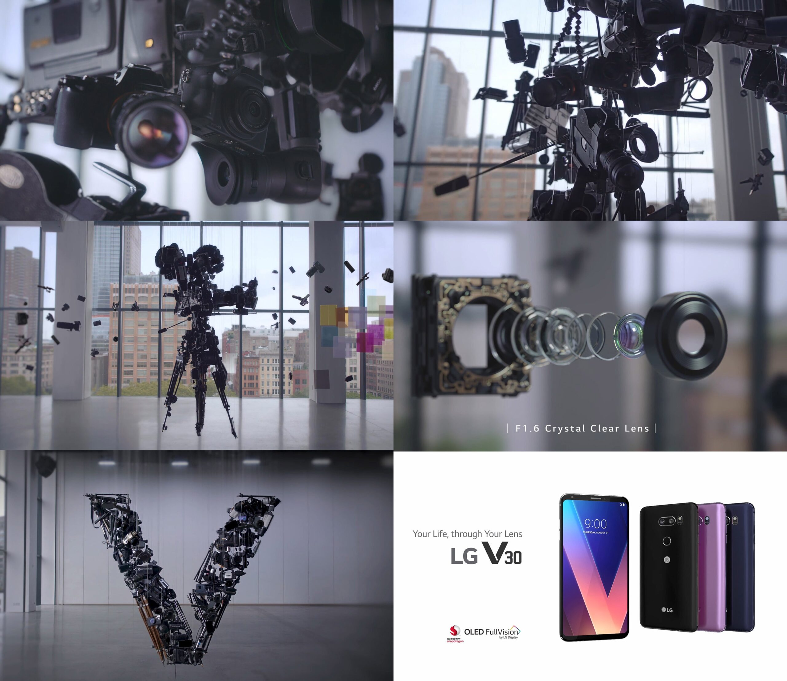 Screenshots taken from a video about LG Electronics' collaboration with artist Michael Murphy to show off the LG V30's rich multimedia capabilities using kinetic art