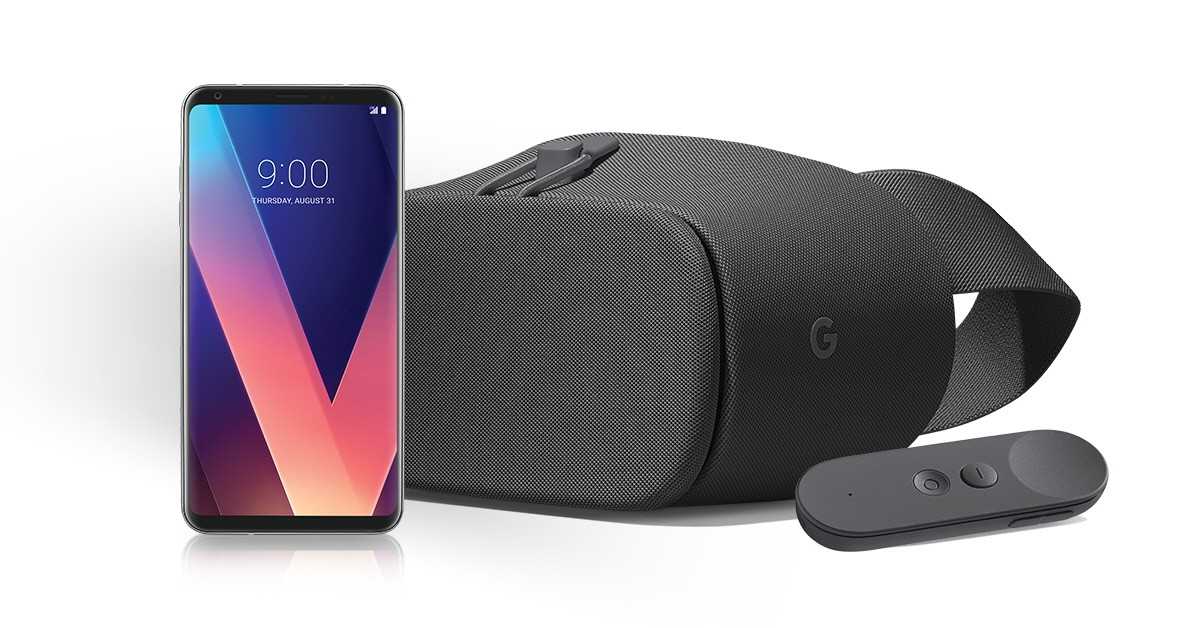The front view of the LG V30 and Google Daydream