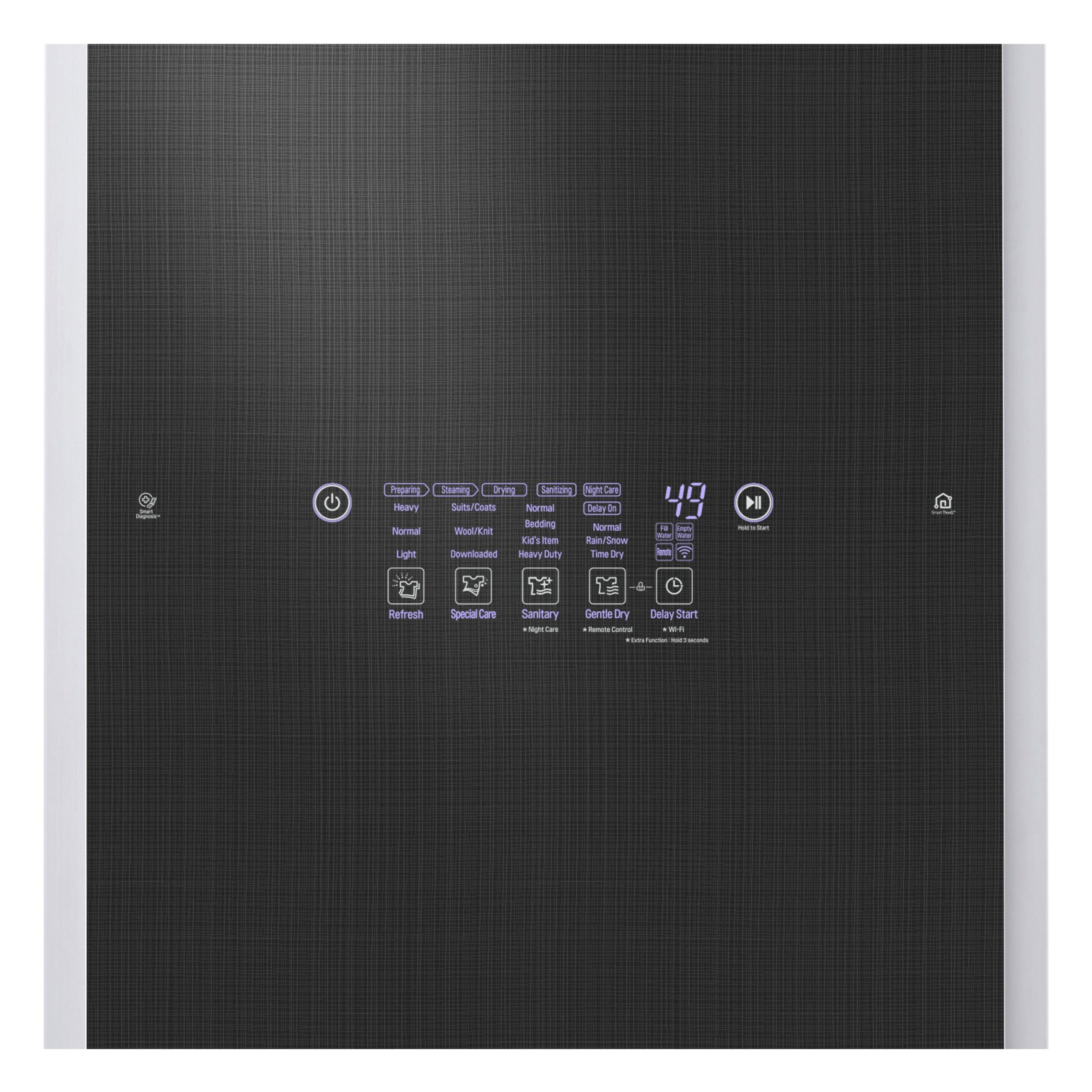 A close-up of LG Styler's exterior control panel