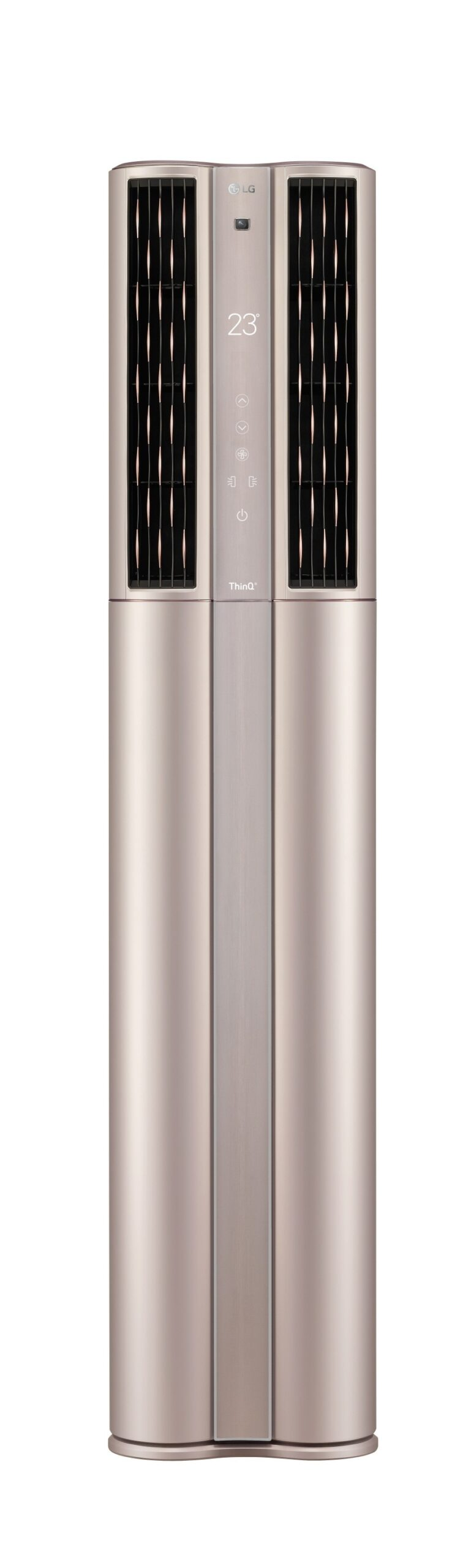Front view of LG DUALCOOL ThinQ™ Stand Inverter air conditioner with its top vents open