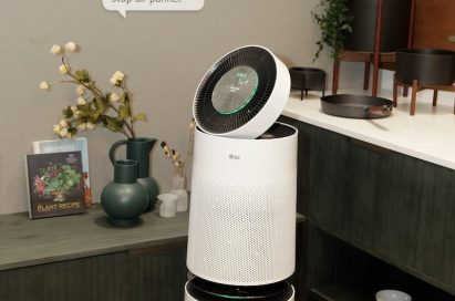 View of the LG PuriCare air purifier in the center of the LG Smart Home zone at the company's CES 2018 booth, to introduce support for Alexa AI voice control.